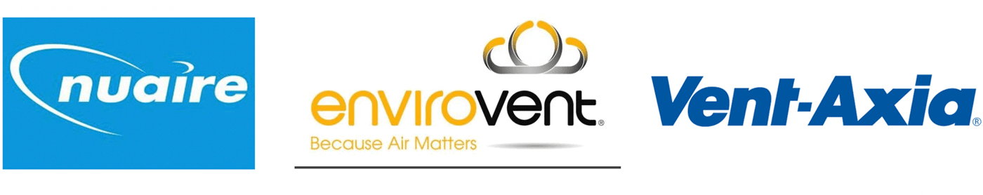Nuaire, Envirovent Vent, and Axia logos